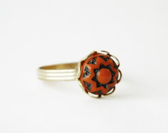 Glass Mandala Ring - Vermilion and Charcoal Glass Ring