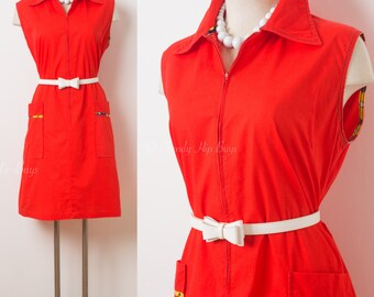 Mod dress, Vintage 60s Dress, mad men dress, Red vintage dress, vintage red dress, 60s sleeveless dress, Vintage summer dress - L/XL