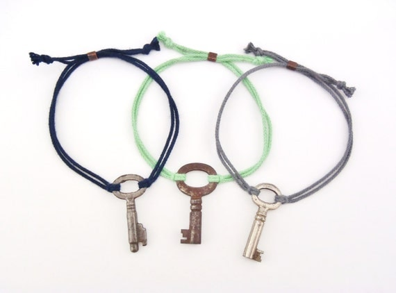 Antique Skeleton Key + Organic Cotton Cord Bracelets - 2 CORD - One Size - Handmade - Eco-Friendly - Certified Organic - FREE SHIPPING