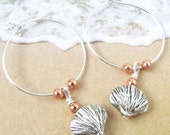 Seashell Earrings, Hoop Earrings, Beach Earrings, Mixed Metal Earrings, Shell Earrings, Beach Jewelry