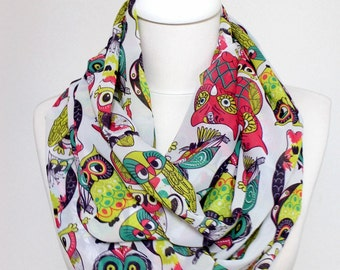 Colorful Owl Pattern Chiffon Infinity scarf, Circle scarf, Long scarf, Scarves, Gift Ideas For Her Women Fashion Accessories, Coverup Pareo
