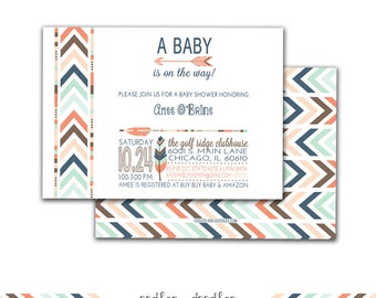 Tribal Baby Shower Invitation, Boho Invitation, Tribal Baby Shower, Gender Neutral, Arrows, Feathers, Chevron, Printable  File or Printed