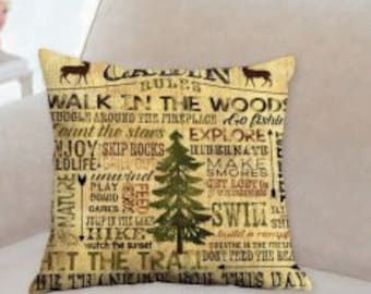 Cabin Rules Designer Pillow
