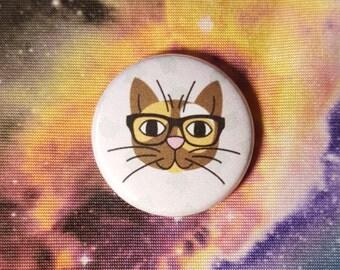 Nerd Kitty Cat Pinback Button or Magnet