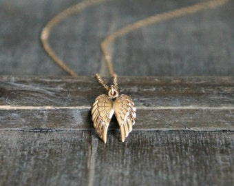 Angel Wings Necklace / Tiny (half inch tall) Bronze Double Wing Pendant on a 14k Gold Filled Chain • Gift for Her • Meaningful Jewelry