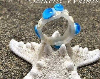 Ring Glass Ring Mermaid Ring Lampwork Glass Sea Glass Beach Glass Found Treausure Nautical Marine Coral Mythical Seahorse Whimsy