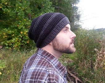 Men's Slouchy Beanie - Crochet Slouchy Hat - Hipster Clothing - Striped Hipster Hat - Black Slouch Hat - Boyfriend Gift - Black Hipster Hat
