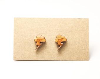 Wood Cloud Thunder Weather Earrings - Wood Clouds Earrings - Wood Thunder Earrings - Wood Stud Earrings - Thunder & Lightening earrings