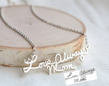 SALE 20% Handwriting Necklace - signature necklace - autograph necklace - Personalize necklace - Name Necklace - Handmade Jewelry