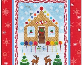 """Pattern """"Lollipop Lane"""" by Marcia Layton  Finished Quilt size: 21"""" x 29"""" Gingerbread House with Yo Yo Accents"""