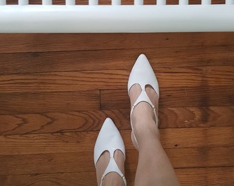 Vintage White Strapy Heels