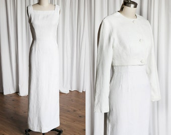 Ionic Order dress set | vintage 50s dress | 1950s white cotton dress & jacket | white 50s column dress | cropped jacket | 50s sleeveless