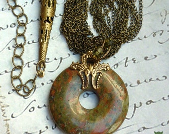 Gifts for Her, Unakite Donut Necklace, North Carolina Gemstone, Swarovski Crystal Accents, Antique Filigree Brass Settings