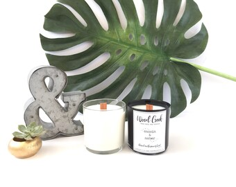 Cassia & Amber Wood Wick Soy Candle, Hand-Poured and Handmade Candle, Lovely Gift Idea, Minimalist Apothecary Label