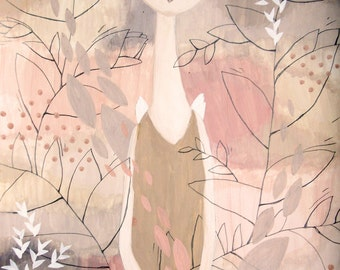 Dreamy Girl-Thin Twigs-Original Painting-Pink-Peach-Beige-Pale Brown