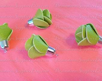 Decorative Tassels - 6 Green Flower Tassels, Silver Cap - Tassels for Jewelry - Key Chain Tassels - Purse Tassels - Large Tassels - TD-1S09