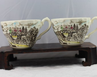 Pair 1940's  Myott Royal Mail Fine Staffordshire Ware Made in England- 2 cups