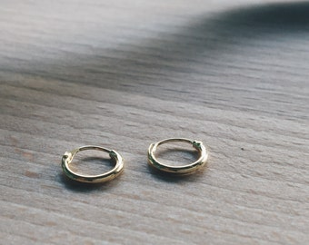 8mm Gold hoop earring, Tiny gold hoop earring, Tiny hoop, Cartilage hoop, Gold plated hoop earring, Gold hoop, Brow hoop, Lip ring (H57)
