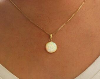 14k gold opal necklace blue opal dainty necklace gemstone white opal necklace white opal pendant small opal pendant opal jewelry gold aloadofball Image collections