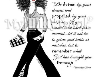Driven- African American Natural Hair Fashion Illustration Black and White Art Print