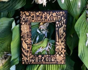 custom personalized name and date frame-wood burned-wedding-anniversary gift -keepsake-flower bird woodland-ooak design-home decor