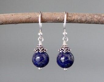 Lapis Earrings - Bali Silver Earrings - Lapis Lazuli Earrings - Blue Lapis Earrings - Blue Gemstones - Silver Wire Wrap Earrings - Gift