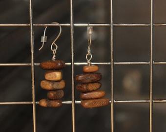 Wooden chip earrings, sterling