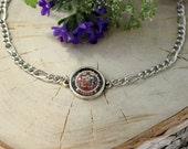 Buddhism Mandala Bracelet, Glass Cabochon, Chain Bracelet