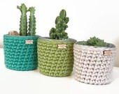 Crochet Planter - Crochet Pot - Planters & Pots - Home Decor - Crochet Container - Galvanized Steel Flower Pot - Mother's Day Gift