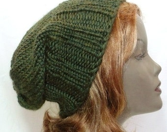 Green Slouchy Hat: Hand Knit Hat, Green Watchcap, Man's or Woman's Wool Toque, Chunky Knits, Handmade in the USA, Ready to Ship
