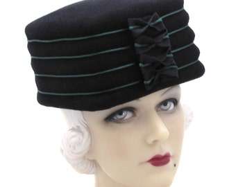 Womens Hats Square Box Top Black Fur Felt Velour Cloche Handmade Hat Bride Church Ascot Derby Races Art Deco Custom Made for Each Client