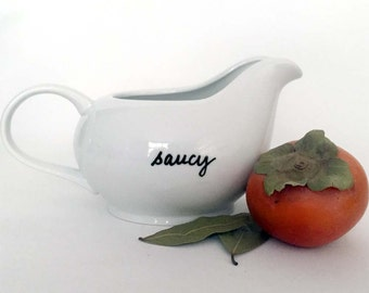 """Upcycled Sauce Boat Gravy Boat """"Saucy"""" Porcelain Hand Painted"""