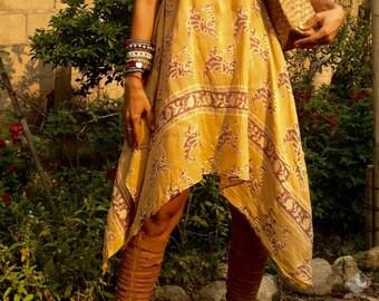 Yellow Vintage High Low Dress/Indian Dress/India Dress/Boho Camel Dress/Sundress/Indian Print Dress/Festival Dress