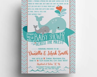 Long Distance Baby Shower Invitation, Printable, DIY, Whale,  Baby Boy - #183