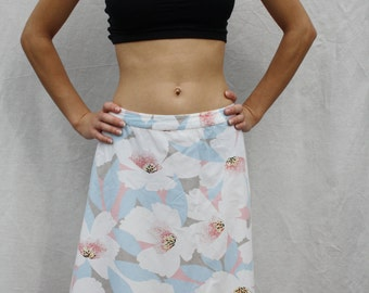 Womens skirt Floral mini skirt Cotton skirt Blooming skirt Summer skirt Light blue white Flower skirt Girls skirt Mini skirt size S M