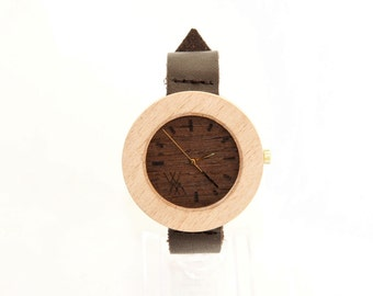 Beech & Wenge Wood Skinny Wooden Watch with Swiss Movement Unisex Eco Recycled Leather Band Strap 18mm