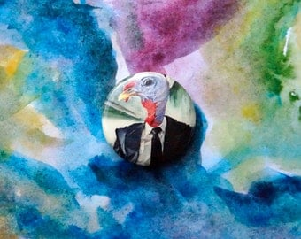 1 Inch Turkey in a Tuxedo Pin/ Surreal Turkey Painting Pinback Button
