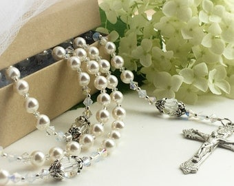 Exquisite Wedding Rosary, Catholic Bridal Rosary, Sparking White Pearl and Swarovski Crystal Rosary