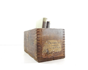 Vintage Industrial Wood Box / Small Wooden Crate / Industrial Storage