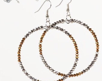 As seen on Jane the Virgin Large Hoop Earrings Metallic Silver and Copper Glass Beads