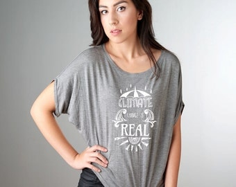 CLIMATE CHANGE is REAL, Political Shirt, Democrate Shirt, Environmental Shirt, Bamboo Tee, Organic Cotton T-shirt by Uni-T