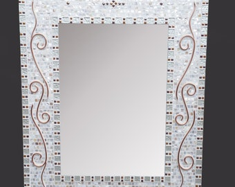 In Stock! - Large Decorative Mosaic Mirror - Bathroom Mirror, Rectangle Mosaic Art Mirror: Glass Mosaic Tiles, Mother of Pearl and Copper