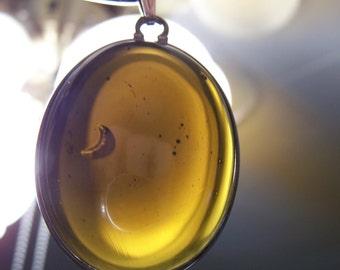 Antique Olive-Black Glass ~ Beach Glass Pendant