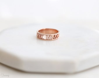Roman numeral ring – Coordinates ring – Personalized wedding date ring – Coordinates ring – Wedding ring – Anniversary ring