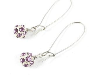 Purple Earrings, Rhinestone Dangle Earrings, Amethyst Drop Earrings, Minimalist Jewelry, Birthstone Jewelry, Birthday Gifts for Her
