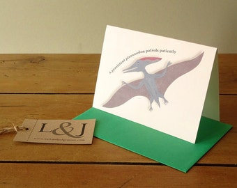 Dinosaur Card - Pteranodon - Cute Animal Card - Dinosaurs - Dinosaur Alphabet - ABC Card - Alphabet Animal - Illustrated Dinosaur - Dinosaur