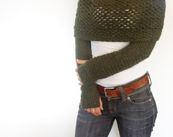 Crochet Pattern - Wrap Around Thumb Holes Shrug/ Modern Chunky Shouders Coverup/Convertible Scarf with Sleeves