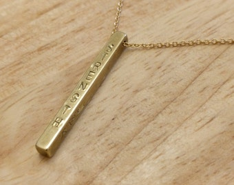 Long Gold Bar Necklace - Personalized Vertical Bar Necklace - Engraved Long Necklace - Long Pendant Everyday Necklace - Minimalist Jewelry