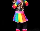 Rainbow Fleece legwarmers/boot covers.  6 stripe.