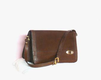 Vintage 60's / 70's Brown Leather Shoulder / Satchel Bag